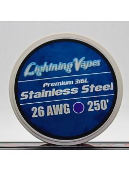 LIGHTNING VAPES - BOBINA ACERO 316L 75Metros 26/28AWG